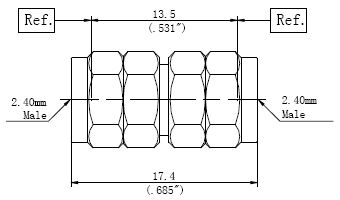 RF Precision Adapter, 2.4mm Male to 2.4mm Male, Technical Drawing
