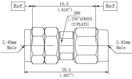 RF Adapter 2.92mm Male to 2.4mm Male, Technical Drawing