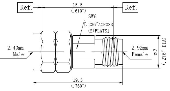 RF Adapter 2.92mm Female to 2.4mm Male, Technical Drawing