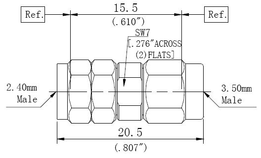 RF Adapter 3.5mm Male to 2.4mm Male, Technical Drawing