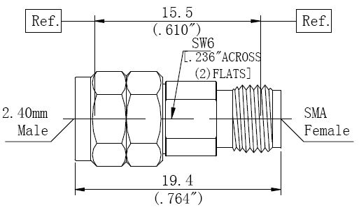 RF Adapter 2.4mm Male to SMA Female, Technical Drawing