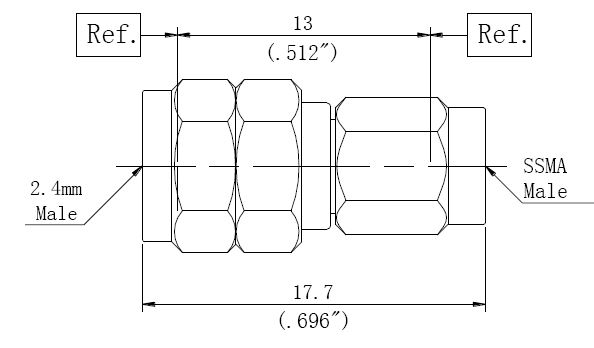 RF Adapter 2.4mm Male to SSMA Male, Technical Drawing
