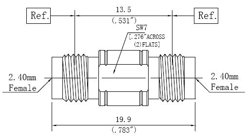 RF Precision Adapter 2.4mm Female to 2.4mm Female, Technical Drawing