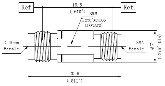 RF Adapter 2.4mm Female to SMA Female, Technical Drawing
