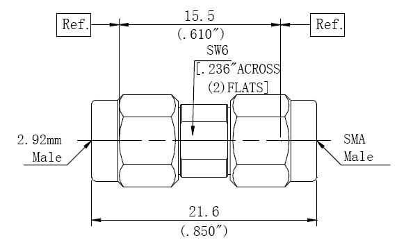 RF Adapter 2.92mm Male to SMA Male, Technical Drawing