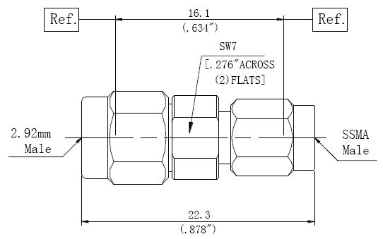 RF Adapter 2.92mm Male to SSMA Male, Technical Drawing