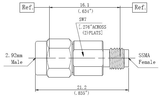 RF Adapter 2.92mm Male to SSMA Female, Technical Drawing