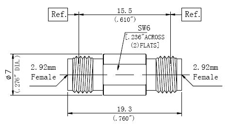 RF Precision Adapter, 2.92mm Female to 2.92mm Female, Technical Drawing