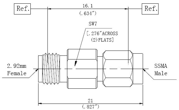 RF Adapter 2.92mm Female to SSMA Male, Technical Drawing