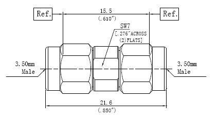 RF Precision Adapter, 3.5mm Male to 3.5mm Male, Technical Drawing