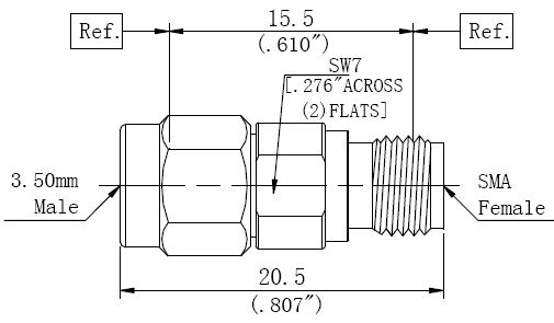 RF Adapter 3.5mm Male to SMA Female, Technical Drawing