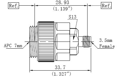 RF Precision Adapter, APC-7 to 3.5mm Female, Technical Drawing