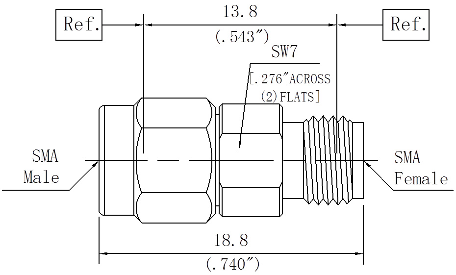 RF Precision Adapter, SMA Male to SMA Female, Technical Drawing