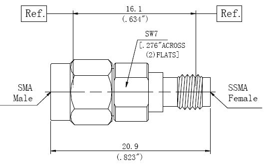 RF Precision Adapter SMA Male to SSMA Female, Technical Drawing