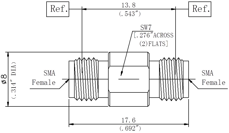RF Precision Adapter, SMA Female to SMA Female, Technical Drawing