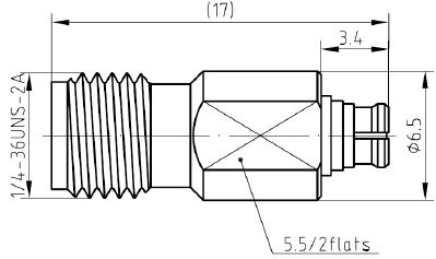 Adapter SMA Female to SMP Female Plug, Technical Drawing