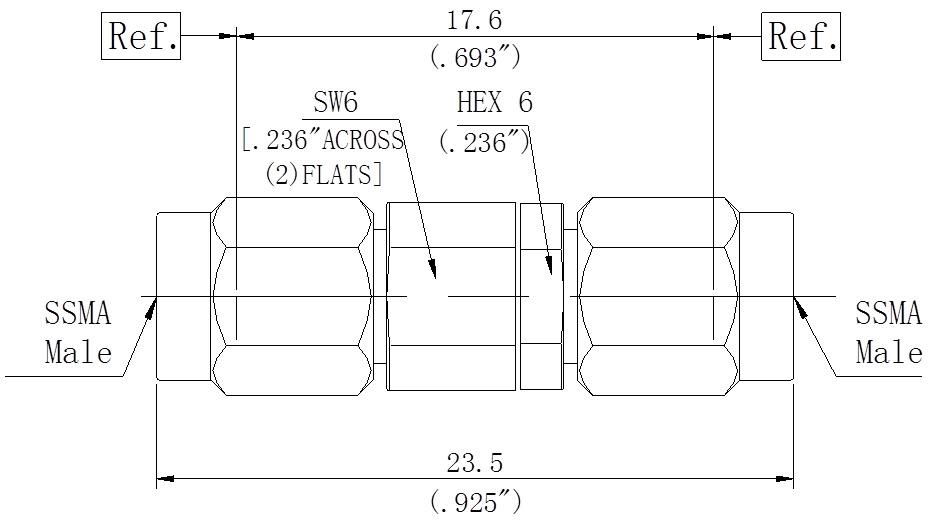 RF Precision Adapter, SSMA Male to SSMA Male, Technical Drawing