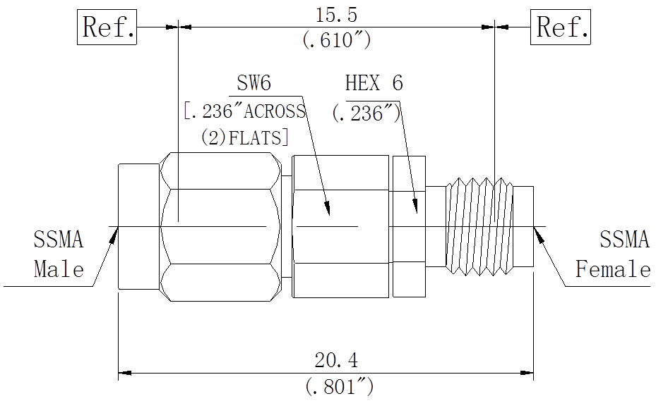 RF Precision Adapter, SSMA Male to SSMA Female, Technical Drawing