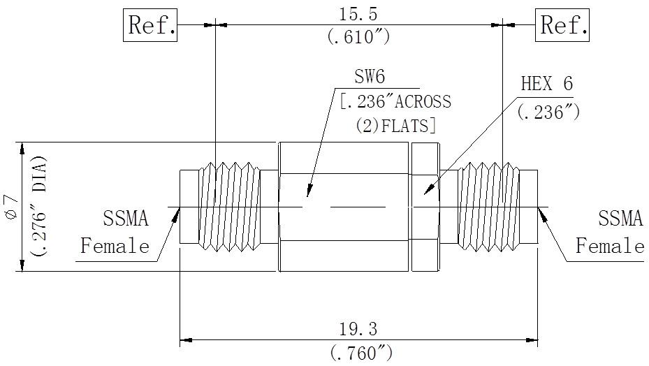 RF Precision Adapter, SSMA Female to SSMA Female, Technical Drawing