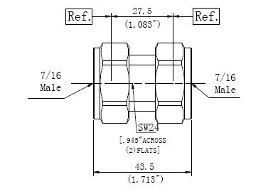 RF Precision Adapter, 7/16 Male to 7/16 Male, Technical Drawing