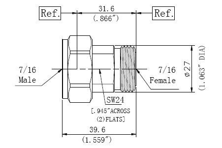 RF Precision Adapter, 7/16 Male to 7/16 Female, Technical Drawing