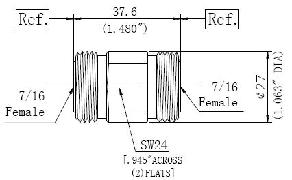 RF Precision Adapter, 7/16 Female to 7/16 Female, Technical Drawing