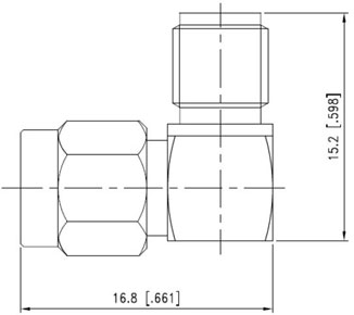 RF Adapter SMA Male to SMA Female Right Angle, Technical Drawing