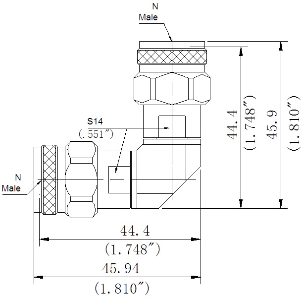 RF Precision Adapter, N-Type Male to N-Type Male, Right Angle, Technical Drawing