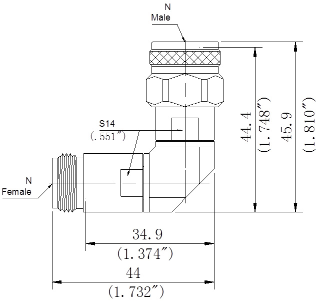 RF Precision Adapter, N-Type Male to N-Type Female, Right Angle, Technical Drawing