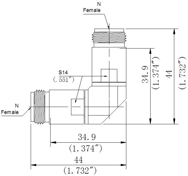 RF Precision Adapter, N-Type Female to N-Type Female, Right Angle, Technical Drawing