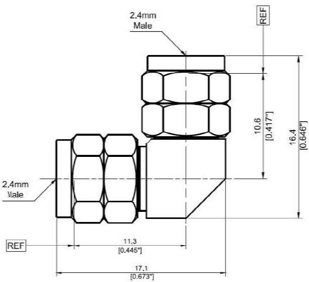 RF Precision Adaptor 2.4mm-2.4mm In Series 2.4mm Male to 2.4mm Male Right Angle, Technical Drawing