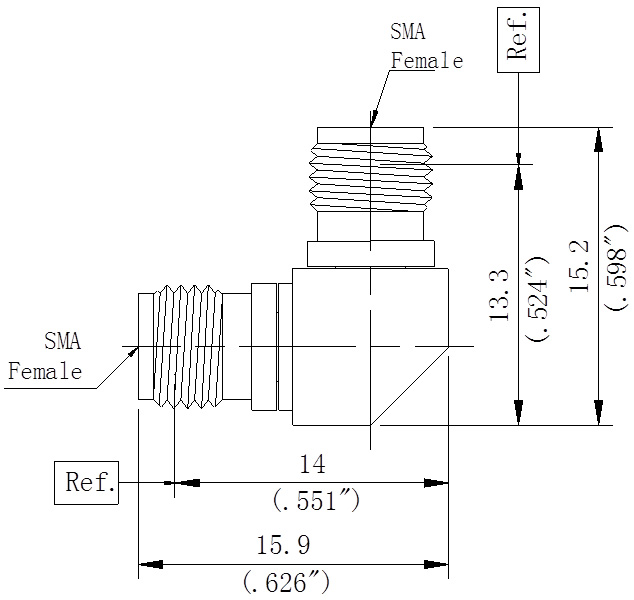 RF Precision Adapter, SMA Female to SMA Female, Right Angle, Technical Drawing