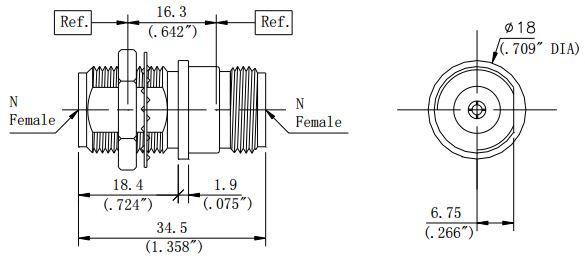 RF Precision Adapter, N-Type Female to N-Type Female, Bulkhead, Technical Drawing