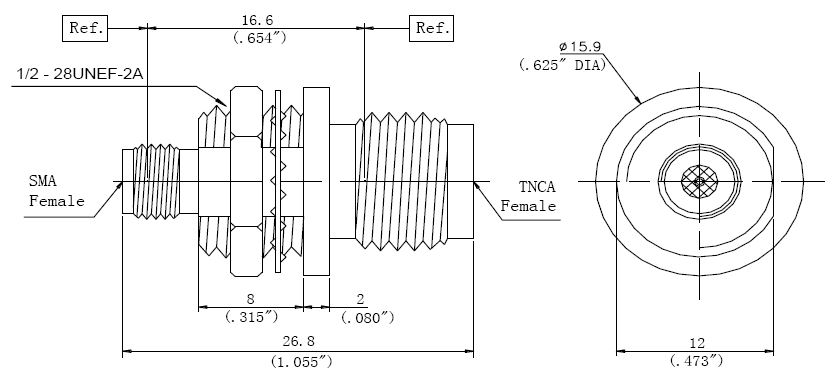 RF Adapter TNCA Female to SMA Female, Technical Drawing
