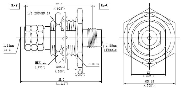 RF Precision Adapter, 1.85mm Male to 1.85mm Female, Technical Drawing