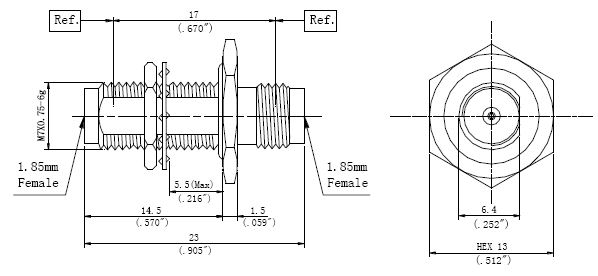 RF Precision Adapter, 1.85mm Female to 1.85mm Female, Technical Drawing