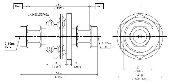 RF Precision Adapter, 2.92mm Male to 2.92mm Male, Technical Drawing