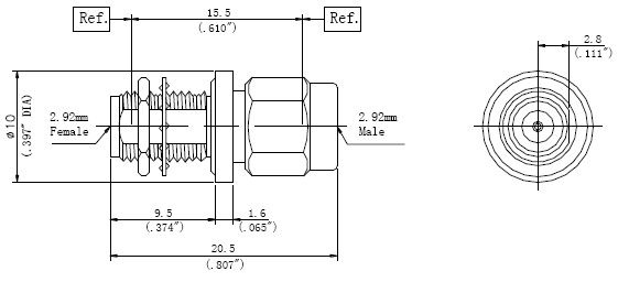 RF Precision Adapter, 2.92mm Male to 2.92mm Female, Technical Drawing