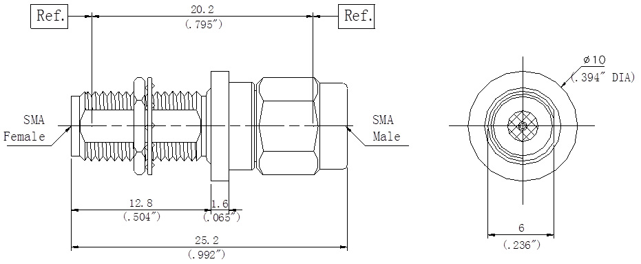 RF Precision Adapter SMA Male to SMA Female, Bulkhead, Technical Drawing