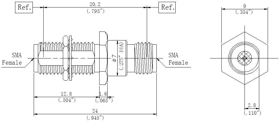 RF Precision Adapter, SMA Female to SMA Female, Bulkhead, Technical Drawing