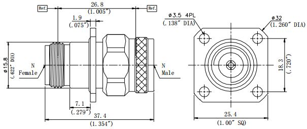 RF Precision Adapter, N-Type Male to N-Type Female, Flange Mount, Technical Drawing