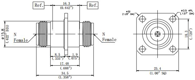 RF Precision Adapter, N-Type Female to N-Type Female, Flange Mount, Technical Drawing