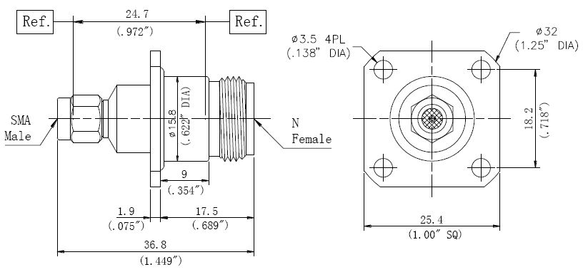 RF Precision Adapter N-Type Female to SMA Male, Technical Drawing