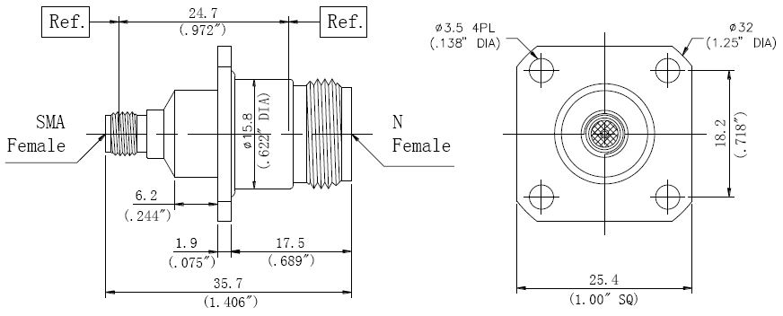RF Precision Adapter N-Type Female to SMA Female, Technical Drawing