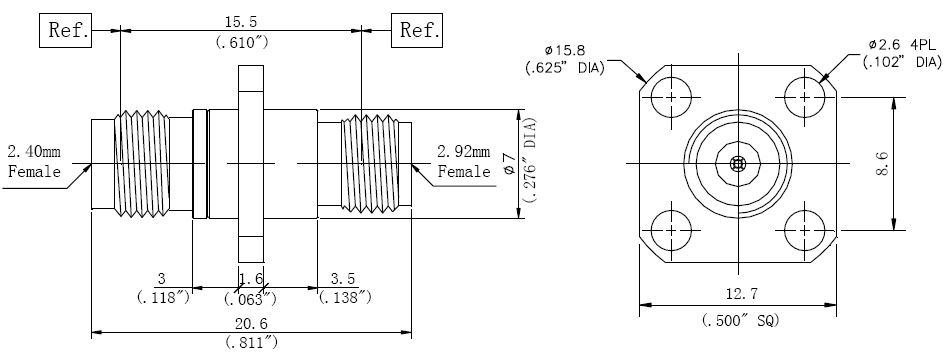 RF Adapter 2.92mm Female to 2.4mm Female, Technical Drawing