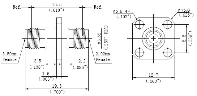 RF Adapter 3.5mm Female to 2.92mm Female, Technical Drawing