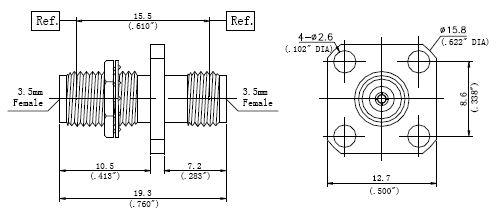 RF Precision Adapter, 3.5mm Female to 3.5mm Female, Technical Drawing