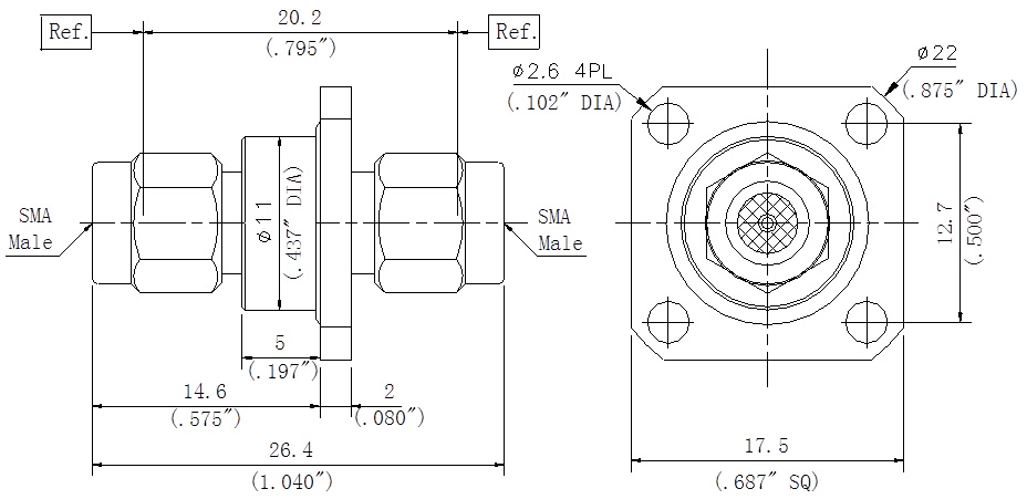 RF Precision Adapter SMA Male to SMA Male, Flange Mount, Technical Drawing