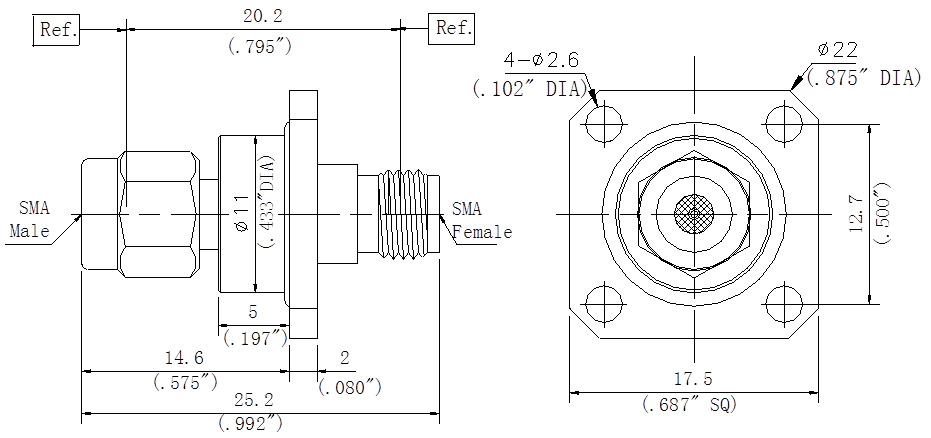 RF Precision Adapter SMA Male to SMA Female, Flange Mount, Technical Drawing