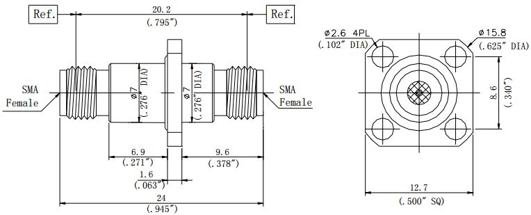 RF Precision Adapter, SMA Female to SMA Female, Flange Mount, Technical Drawing